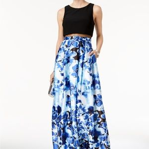 Betsy & Adam Solid & Floral-Print Illusion Gown